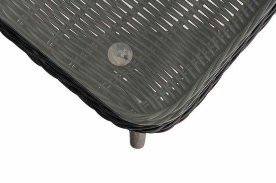 Clp Skara - Hoek loungeset - 5mm rond Polyrattan - zwart - crème wit 40 cm (donkergrijs)