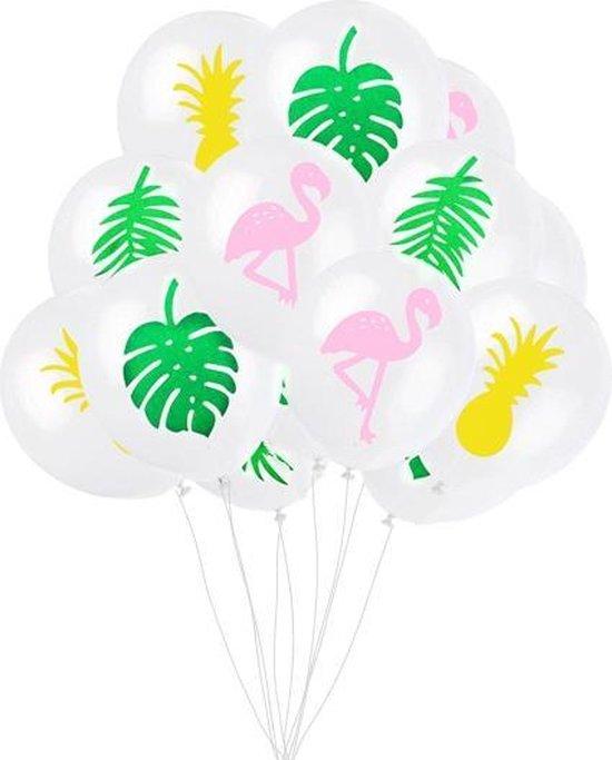 Ballonnen - 12 Stuks - Tropical - Flamingo - Ananas - Palmblad