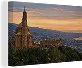 Canvas Schilderij Libanon - Stad in Libanon canvas 2cm - 140x90 cm - Foto print op Canvas schilderij (wanddecoratie woonkamer / slaapkamer)