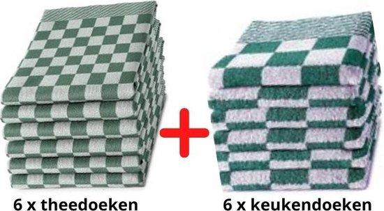 Theedoeken en Keukendoeken Set - 6 Stuks Theedoeken + 6 Stuks Keukendoeken - 100% KATOEN - Groen Wit - Horecakwaliteit - Sneldrogend - Geblokt - Droomtextiel