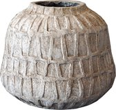 PTMD Timon bruine cement pot rond rand maat in cm: 31 x 31 x 26 - Bruin