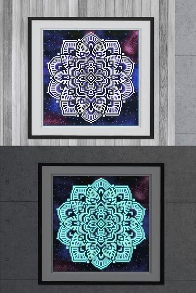 Glow In The Dark Diamond Painting Volwassenen/Kinderen - Ronde Steentjes - Volledig Pakket - Hobby - Bloemen en planten - Mandala 25x25cm