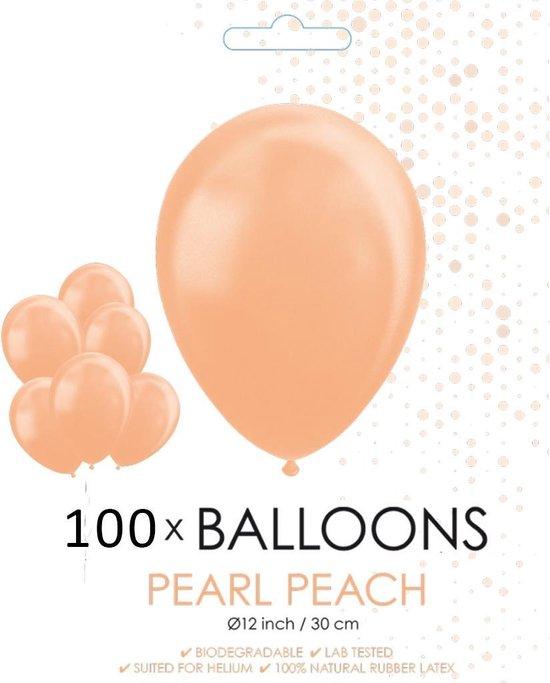 100 Parel perzik kleur ballonnen 30 cm.