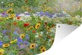 Tuinposter - Siergras met verschillende bloemen - 120x80 cm