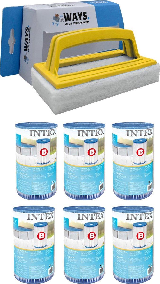 Intex - Filter type B - 6 stuks - Geschikt voor filterpomp 28634GS & WAYS scrubborstel