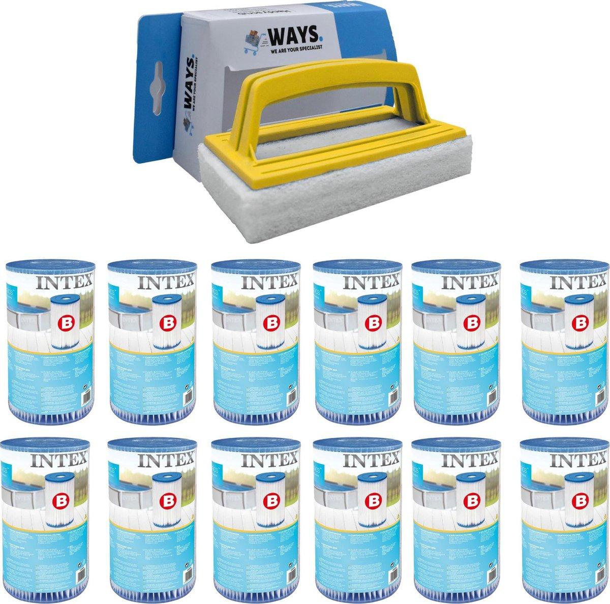 Intex - Filter type B - 12 stuks - Geschikt voor filterpomp 28634GS & WAYS scrubborstel