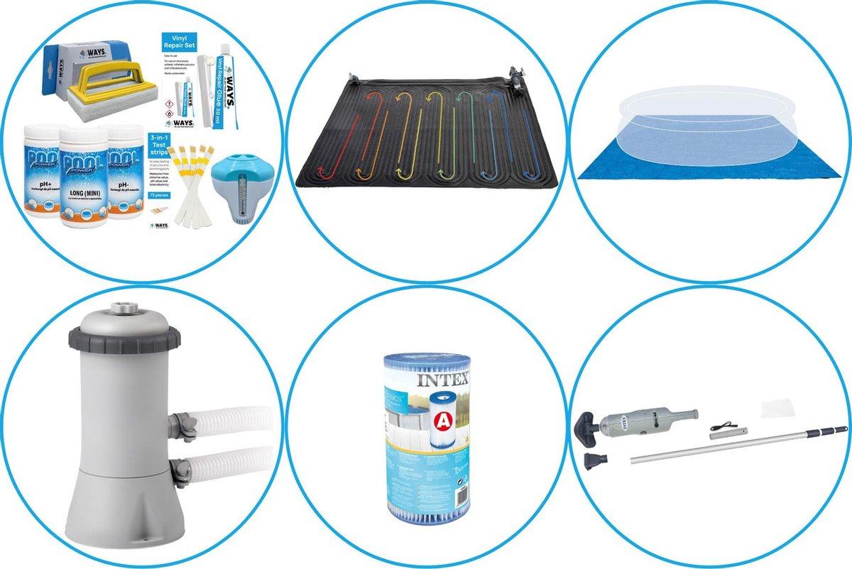 Zwembad Accessoirepakket 5-delig - WAYS Onderhoudspakket & Zwembad verwarming & Filterpomp (28604GS) + Filter & Zwembad stofzuiger & Grondzeil