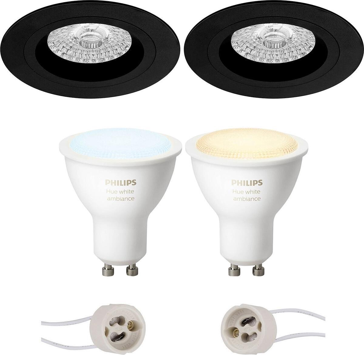 PHILIPS HUE - LED Spot Set GU10 - White Ambiance - Bluetooth - Proma Rodos Pro - Inbouw Rond - Mat Zwart - Ø93mm