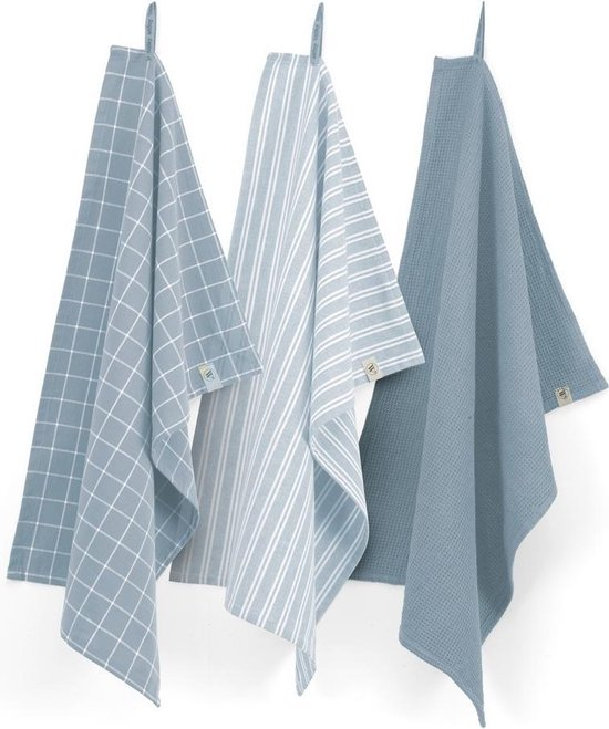 Walra Keukenset Dry w. Cubes Uni, Stripes & Blocks - 3x 50x70 - 100% Katoen - Jeans Blauw