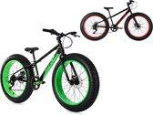 """Ks Cycling Fiets Mountainbike MTB 24"""" Fat Bike SNW2458 zwart-groen - 38 cm"""