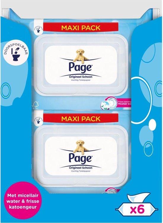 Page vochtig toiletpapier - Origineel Schoon maxi vochtig wc papier - voordeelverpakking - 76 x 6 stuks - 456 velletjes