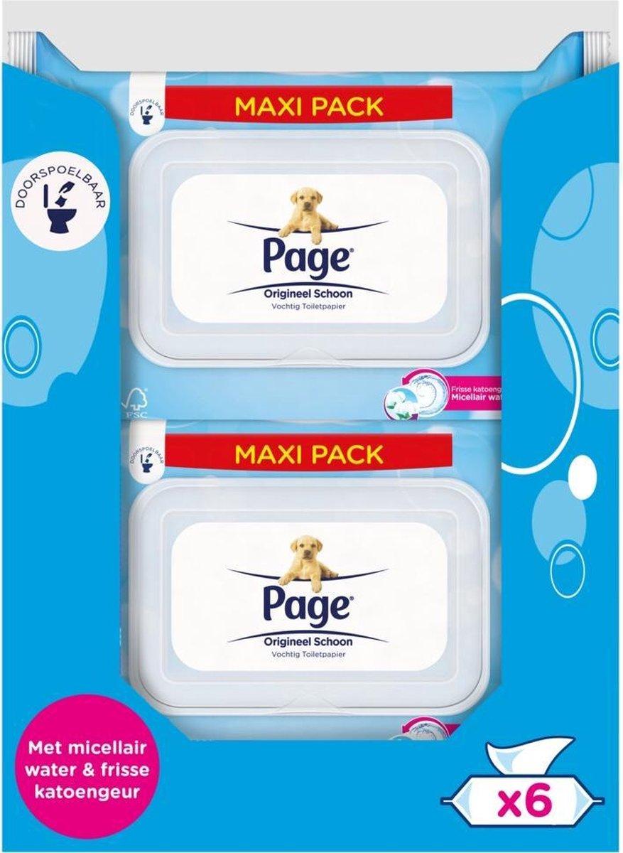 Page vochtig toiletpapier - Origineel Schoon maxi vochtig wc papier - voordeelverpakking - 76 x 6 st