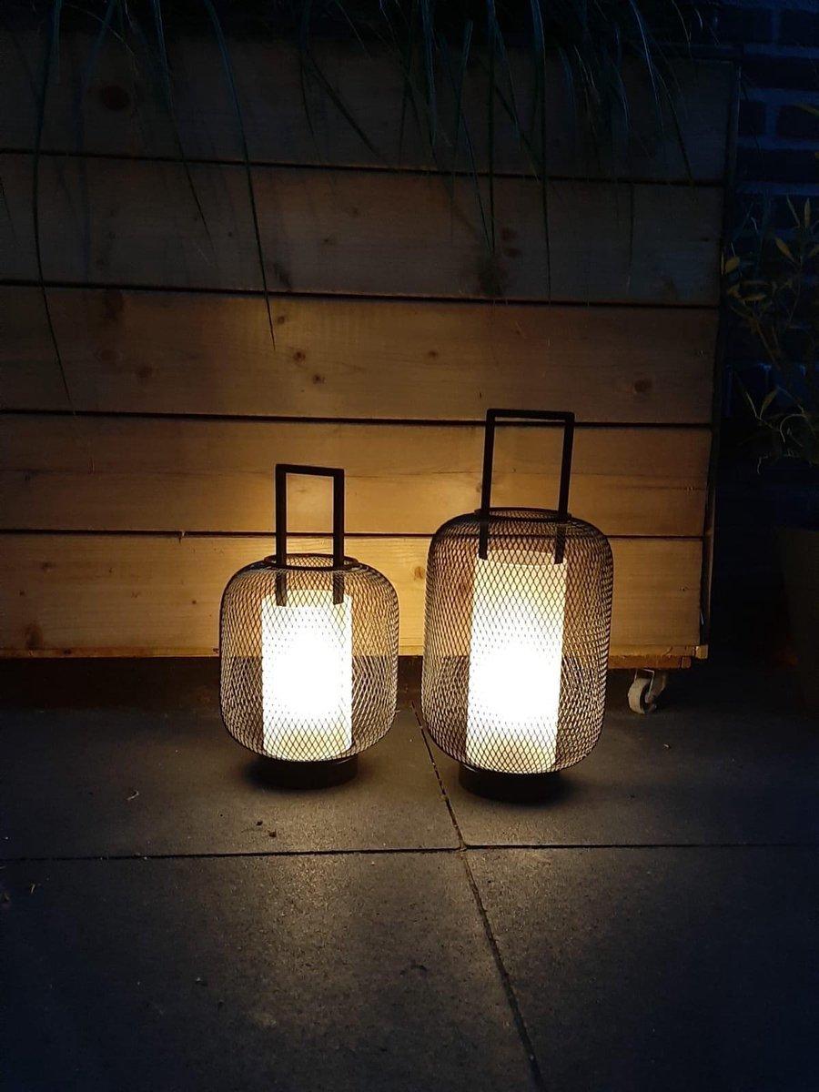 FlinQ LED Lantaarn Set van 2 - Binnen en Buiten - Draadloze Buitenlamp - Windlicht