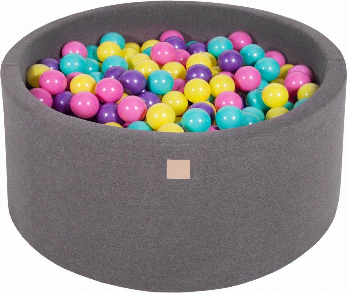 Ronde Ballenbak set incl 300 ballen 90x40cm - Donker Grijs: Violet, Donker Roze, Lime, Turquoise
