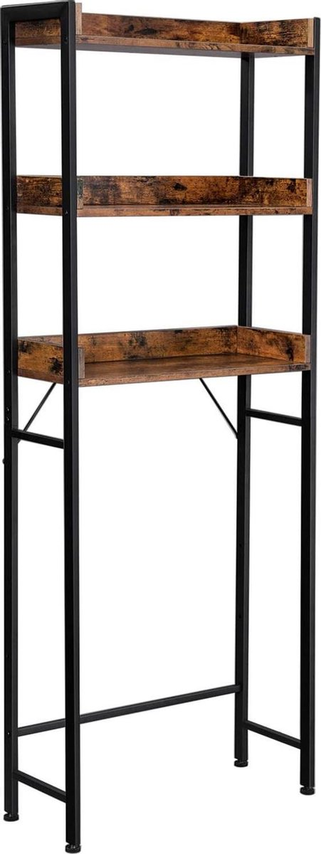 WC Plank, Badkamerplank, Rek voor Toilet of Wasmachine met 3 open Vakken, ruimtebesparend, industrieel ontwerp, Vintage Bruin en Zwart