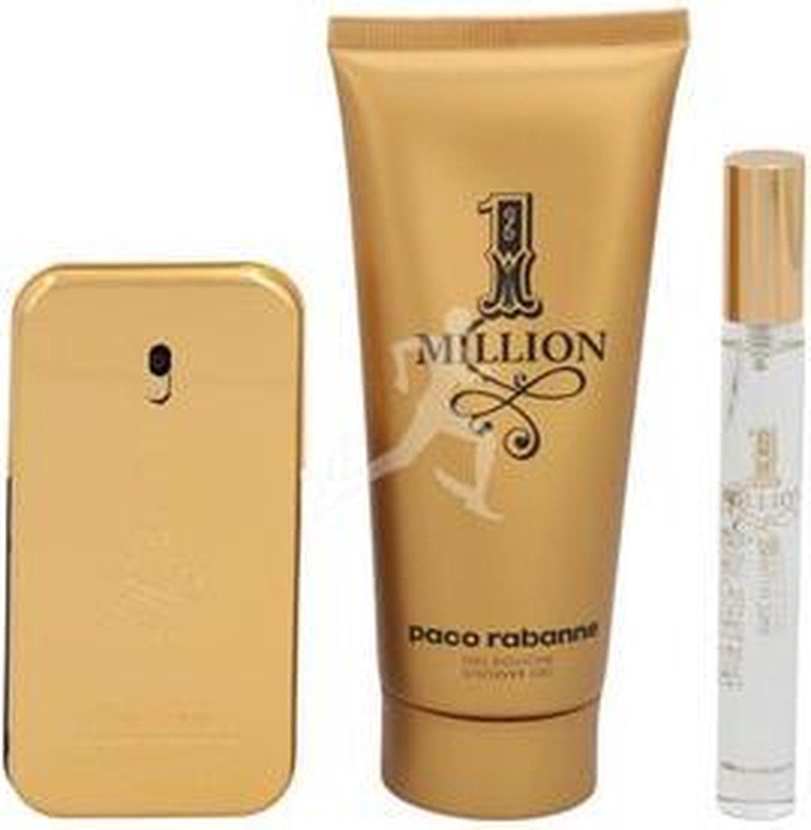 Paco Rabanne 1 Million Set Eau de toilette Spray 50Ml/Shower Gel 100Ml/Edt Travel Spray 10Ml