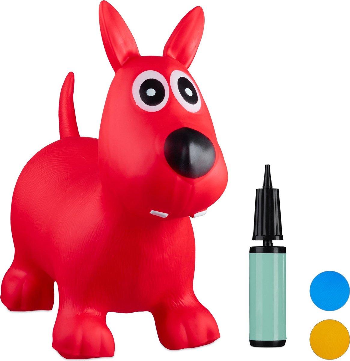 relaxdays Skippy dier hond - skippybal kinderen - tot 50 kg - springdier - versch. kleuren rood