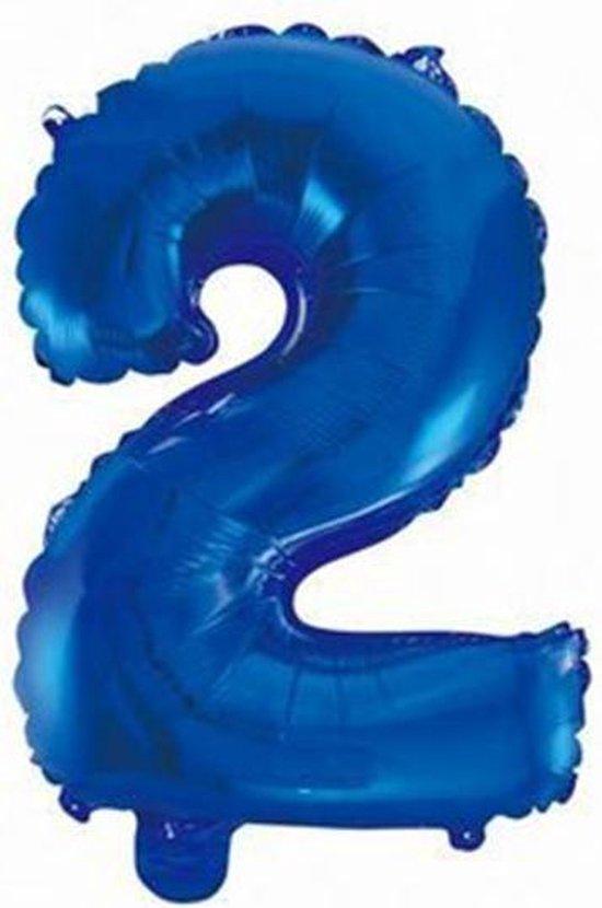 Folie Ballon Cijfer 2 Blauw 41cm met rietje