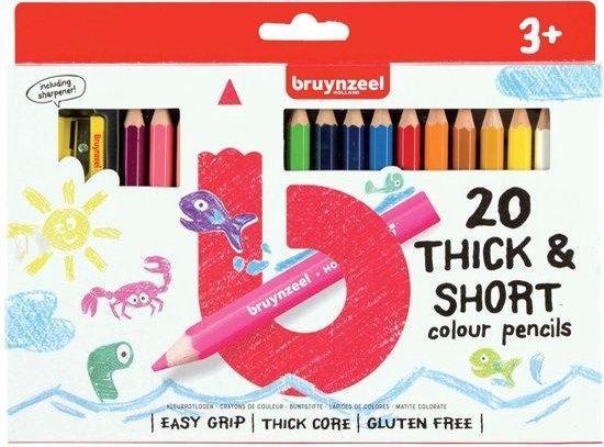 Bruynzeel - Kleurpotloden - Kort & dik - Easy grip - 20st.
