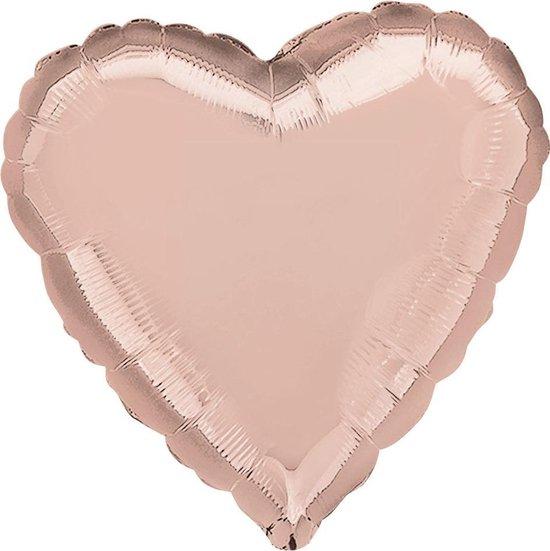 Folieballon Hart Rosé Goud - 46 Cm