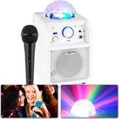 Karaoke set - Vonyx SBS50W Witte karaoke set op accu met Bluetooth, microfoon met echo effect en LED lichteffect - Direct zingen of feesten!