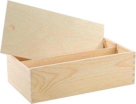 Houten opbergkist/doosje met schuifdeksel 35,5 x 20 x 10,8 cm - Opbergkistje/opbergdoosje - Keuken accessoires