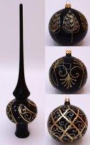 Pakket 10-delig: met 1 Zwarte Kerstboom Piek en 9 Zwarte Kerstballen met Gouden Decoratie - 3 x 3 verschillend gedecoreerde glazen kerstballen van 8 cm