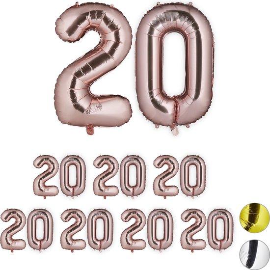 relaxdays 8x folieballon getal 20 - luchtballon folie ballon - XXL cijferballon - rosegoud