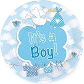 16x stuks gebaks/taart feest bordjes geboorte jongen 18 cm - Babyshower feestartikelen