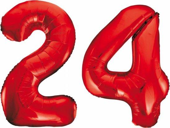 Folieballon 24 jaar rood 86cm