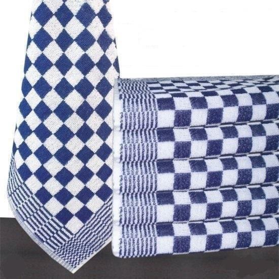 Keukendoek blauw / wit geblokt - 50x50cm - set van 6 stuks - 100% katoenen badstof