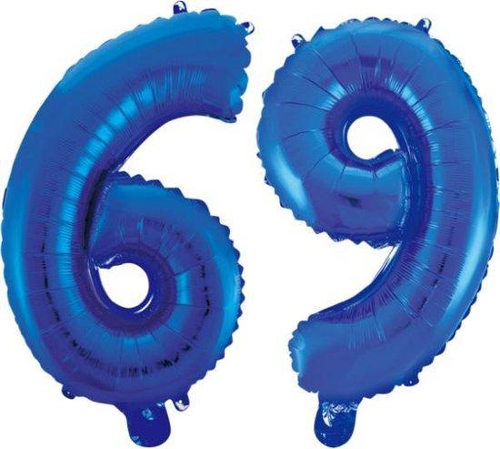 Folieballon 69 jaar blauw 86cm
