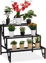 relaxdays plantenrek metaal - 3 etages - plantentrap - etagère - bloemenrek - bloementrap
