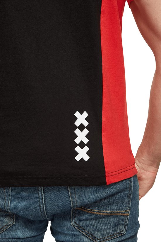Ajax T-shirt rood/zwart amsterdam xxx met 3 sterren maat xl