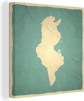 Een illustratie van Tunesië op een oude kaart 90x90 cm - Foto print op Canvas schilderij (Wanddecoratie woonkamer / slaapkamer)