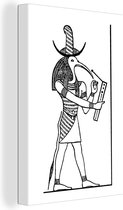 Illustratie van de Egyptische God Thoth canvas 90x140 cm - Foto print op Canvas schilderij (Wanddecoratie woonkamer / slaapkamer)