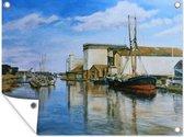 Een olieverf schilderij van een haven tuinposter 80x60 cm - Tuindoek / Buitencanvas / Schilderijen voor buiten (tuin decoratie)