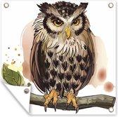 Een natuurgetrouwe illustratie van een uil tuinposter 50x50 cm - klein - Tuindoek / Buitencanvas / Schilderijen voor buiten (tuin decoratie)