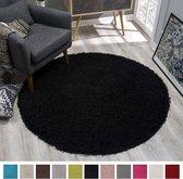 Shaggy Hoogpolig vloerkleed Zwart Effen Tapijt Carpet - 120 x 120 cm