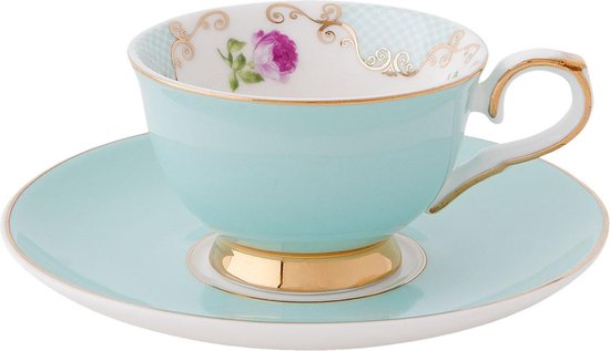 Clayre & Eef | Kop en schotel espresso Ø 12*5 cm / 0,05L | Groen | Porselein | Bloemen | 6CE0652