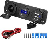 MMOBIEL Universele Waterdichte Drie Gaten Paneel Duo USB Oplader inclusief Blauwe LED Indicatie en Sigaret Oplader. Geschikt voor vrijwel ieder voertuig!