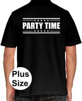 Party time grote maten poloshirt zwart voor heren - Plus size Party time polo t-shirt 3XL