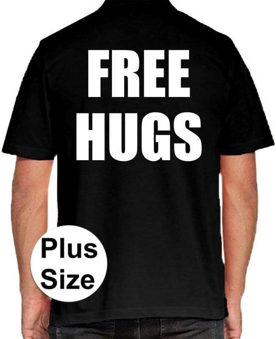 Free Hugs grote maten poloshirt zwart voor heren - Plus size Free Hugs polo t-shirt 3XL