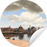 Behangcirkel - Gezicht op Delft - Schilderij van Johannes Vermeer - 100x100 cm XXL